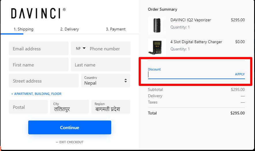 How do I use my DAVINCI discount code?