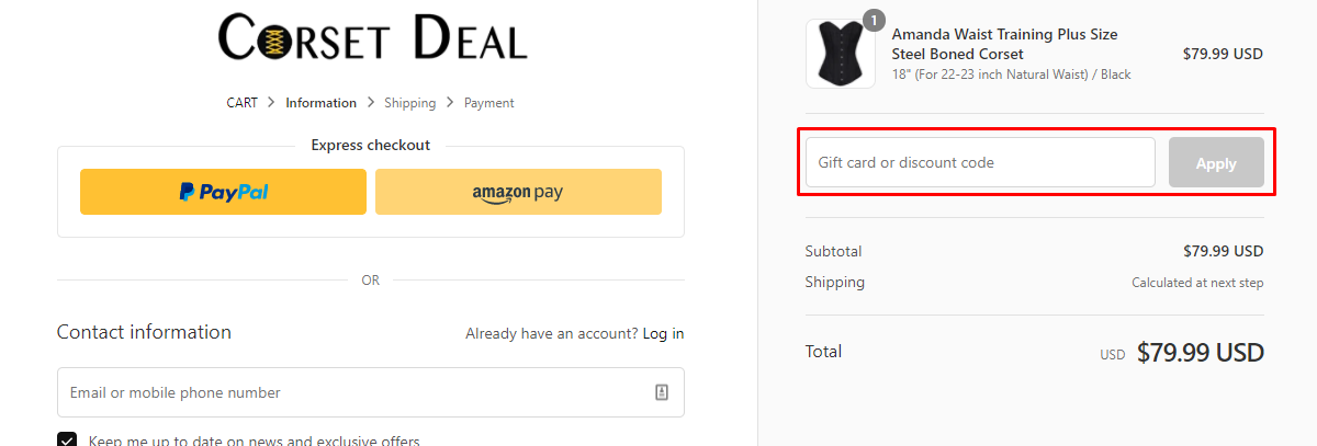 How do I use my Corsetdeal discount code?
