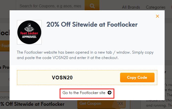 Go to Foot Locker site