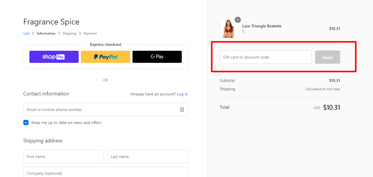 How do I use my FRAGRANCE SPICE discount code?