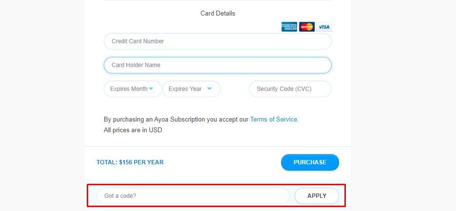 How do I use my Ayoa discount code?
