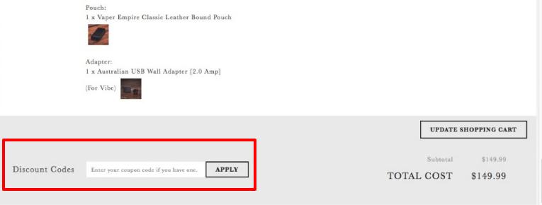 How do I use my Vaper Empire discount code?