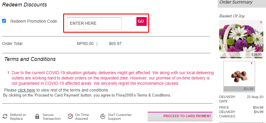 How do I use my Flora2000 promotion code?