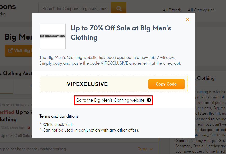 How do I use my Big Men's Clothing coupon code?