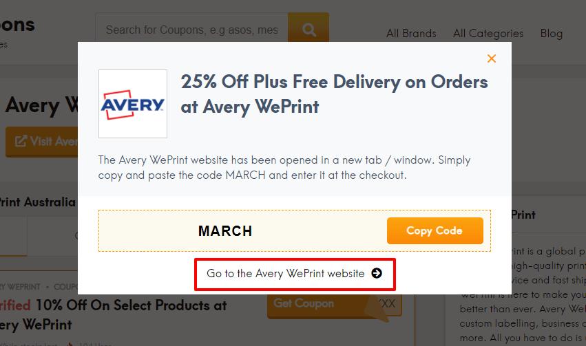 How do I use my Avery WePrint discount code?