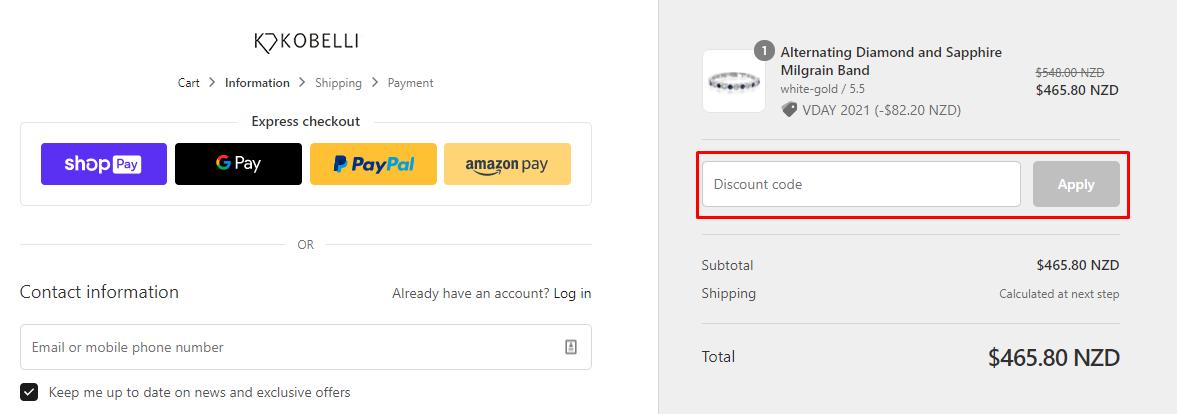 How do I use my Kobelli discount code?