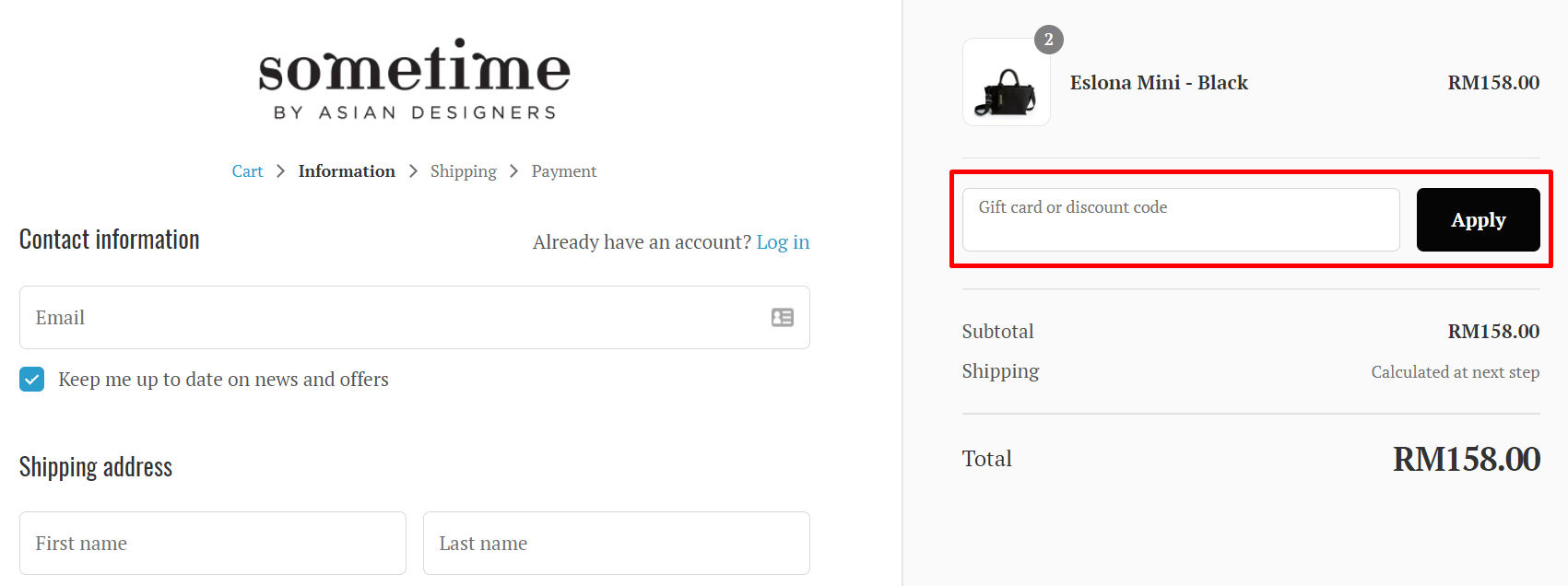 How do I use my Sometime By Asian Designers discount code?
