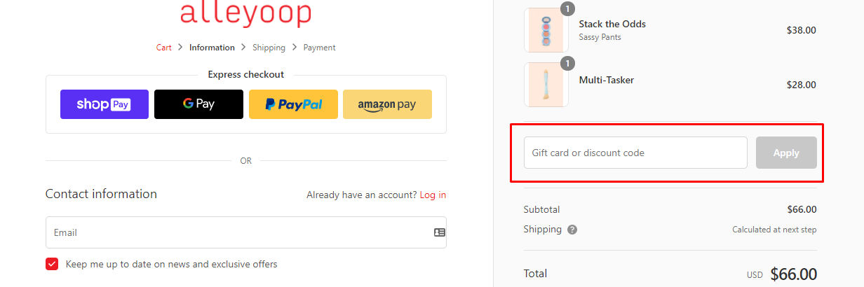 How do I use my Alleyoop discount code?