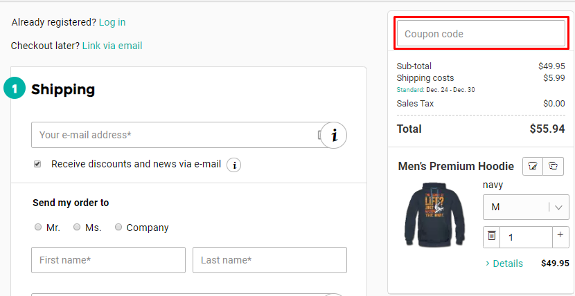 How do I use my Spreadshirt discount code?