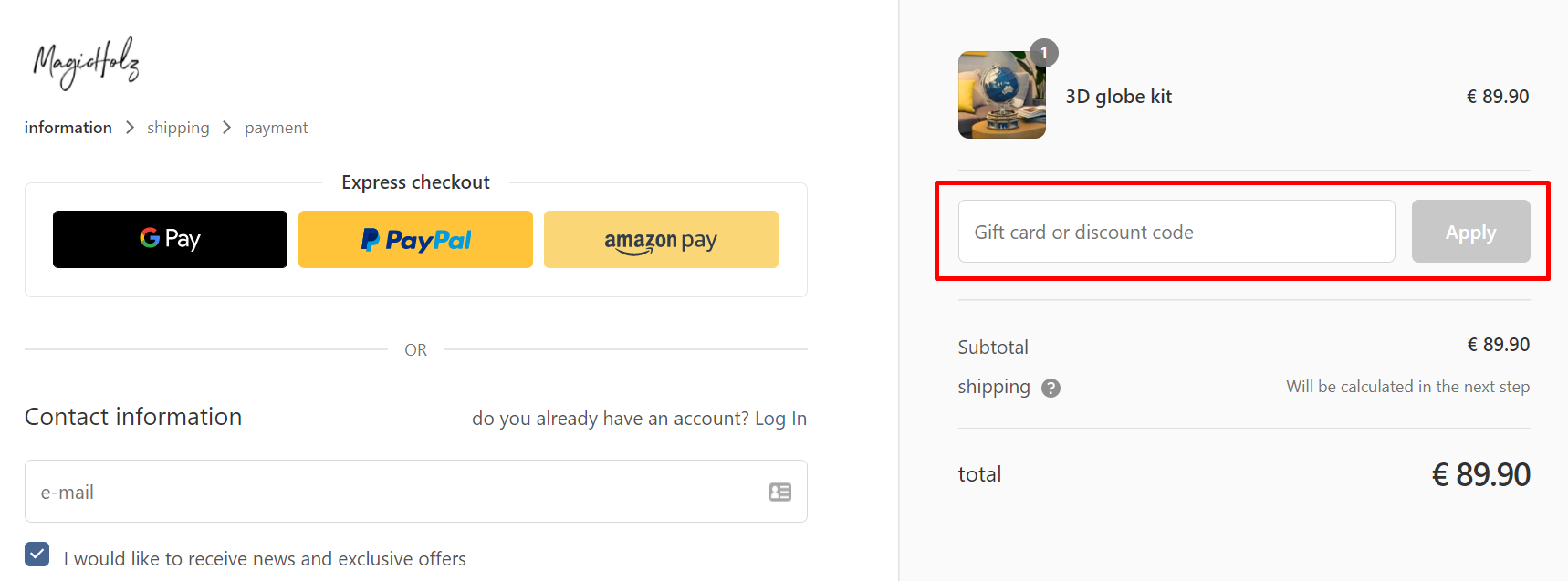 How do I use my MagicHolz discount code?