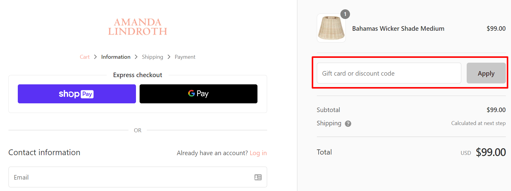 How do I use my Amanda Lindroth discount code?