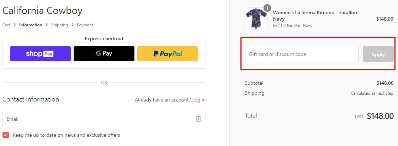How do I use my California Cowboy discount code?