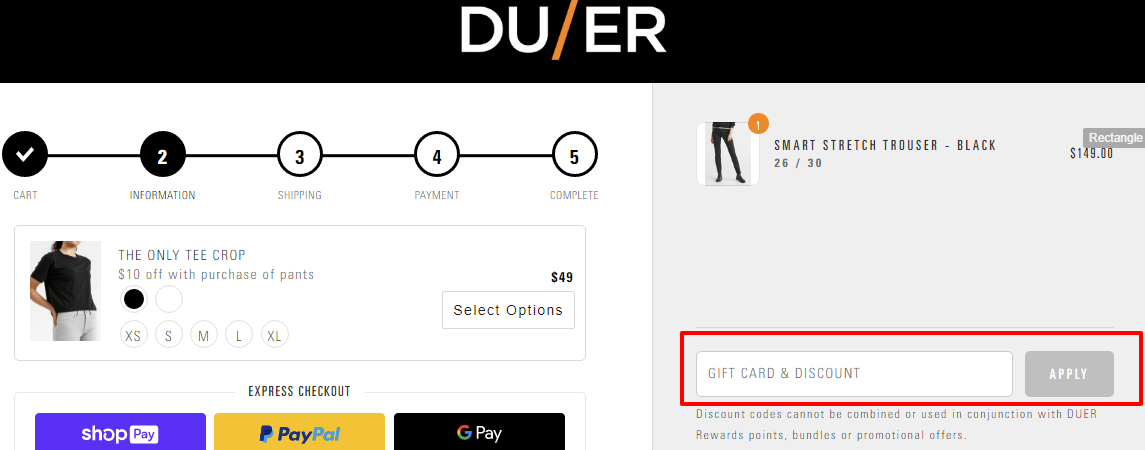 DUER Checkout