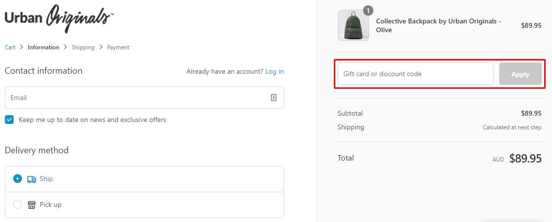 How do I use my Urban Originals discount code?
