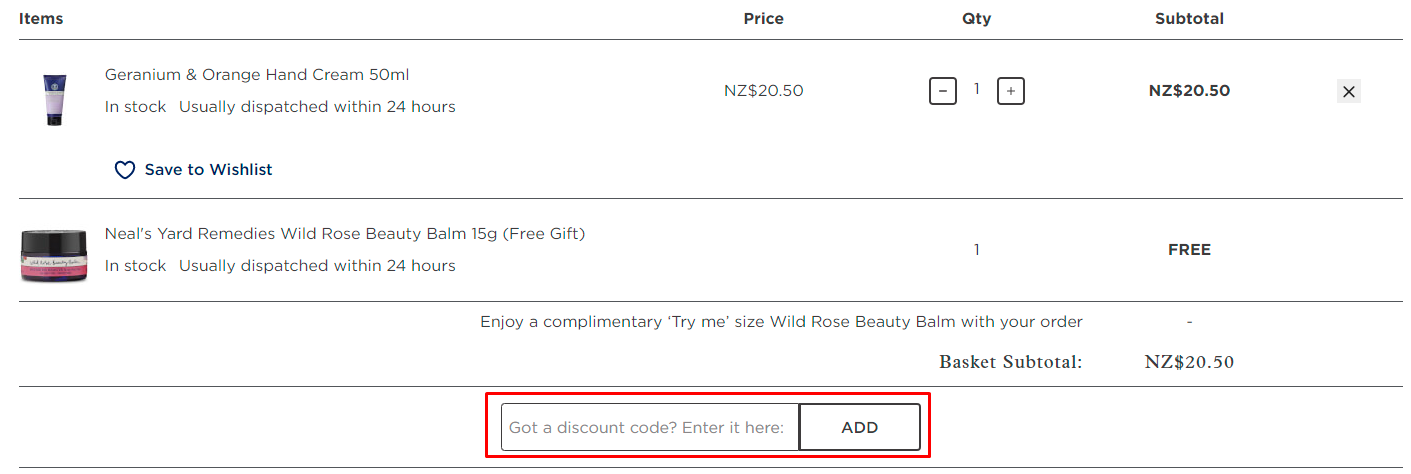 How do I use my Neals Yard Remedies discount code?