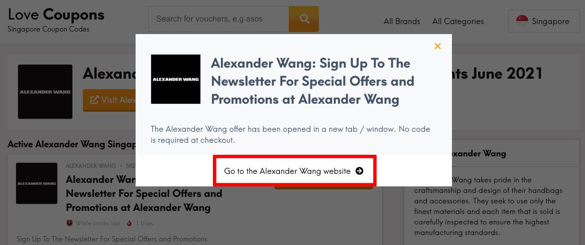 Alexander Wang SG Get Coupon