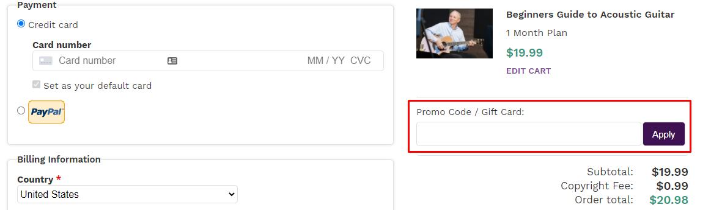 How do I use my Artistworks promo code?