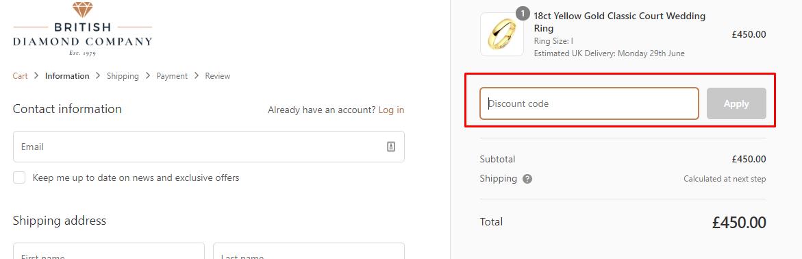 How do I use my British Diamond Company coupon code?