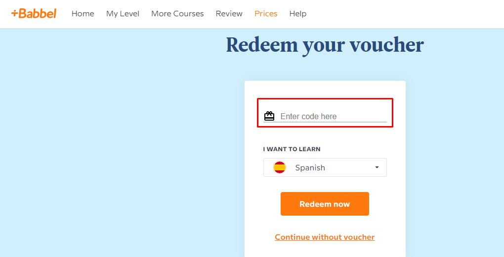 How do I use my Babbel Voucher code?