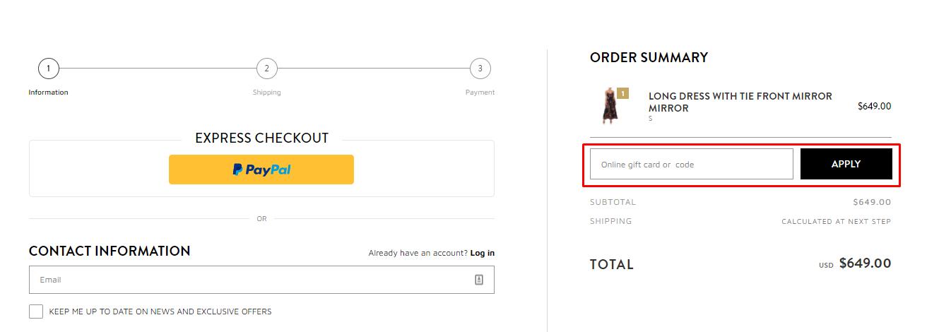 How do I use my Camilla gift card code?