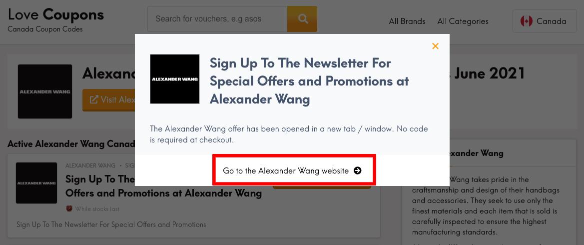 Alexander Wang CA Get Coupon