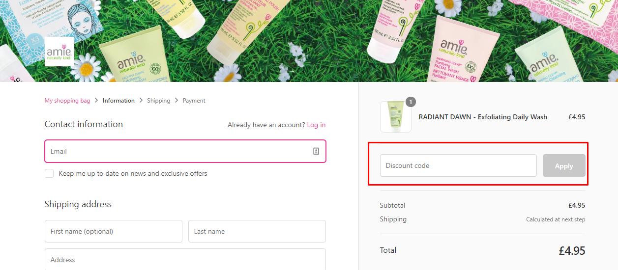How do I use my Amie Naturally Kind coupon code?