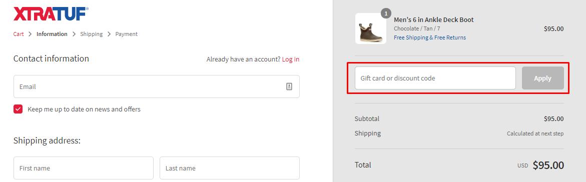 How do I use my XTRATUF discount code?