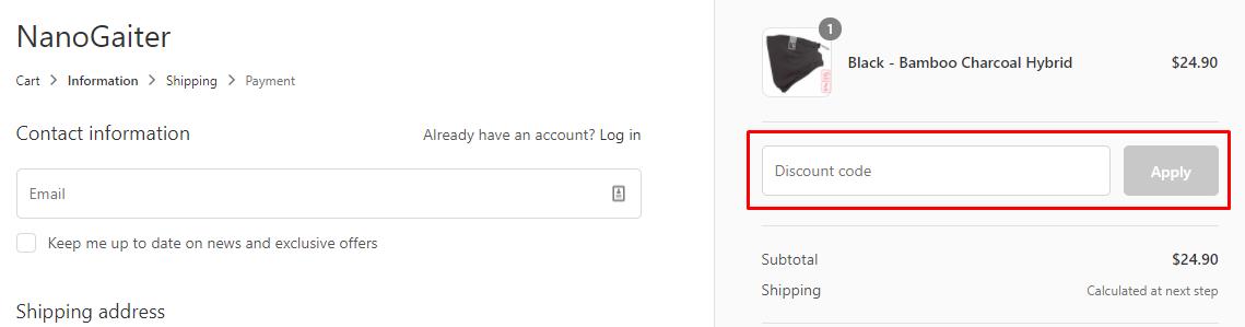 How do I use my Nanogaiter discount code?
