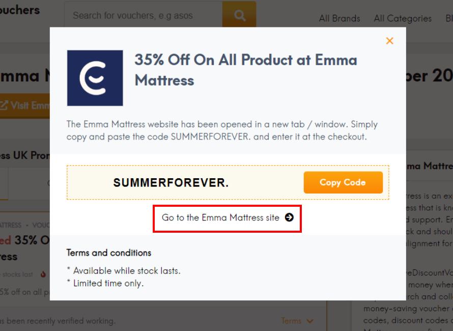 go to Emma Mattress site