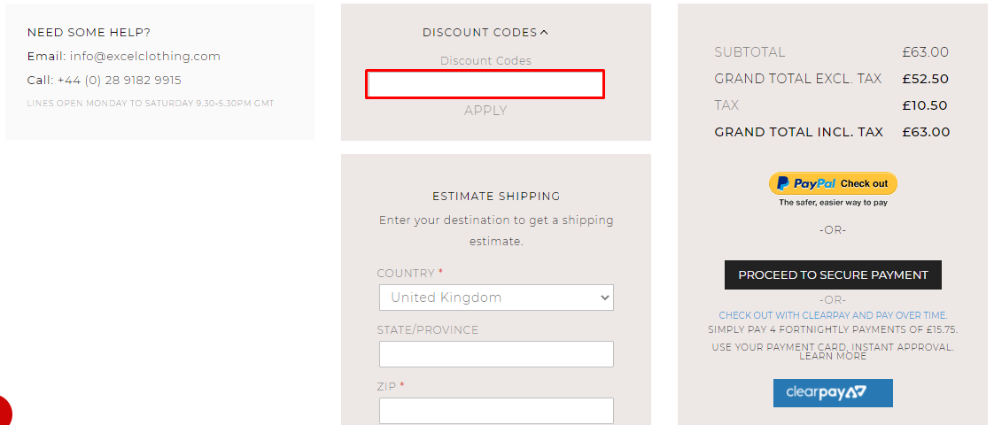 How do I use my Excel Clothing discount code?