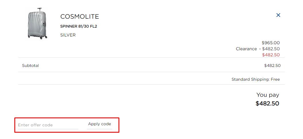 How do I use my Samsonite offer code?