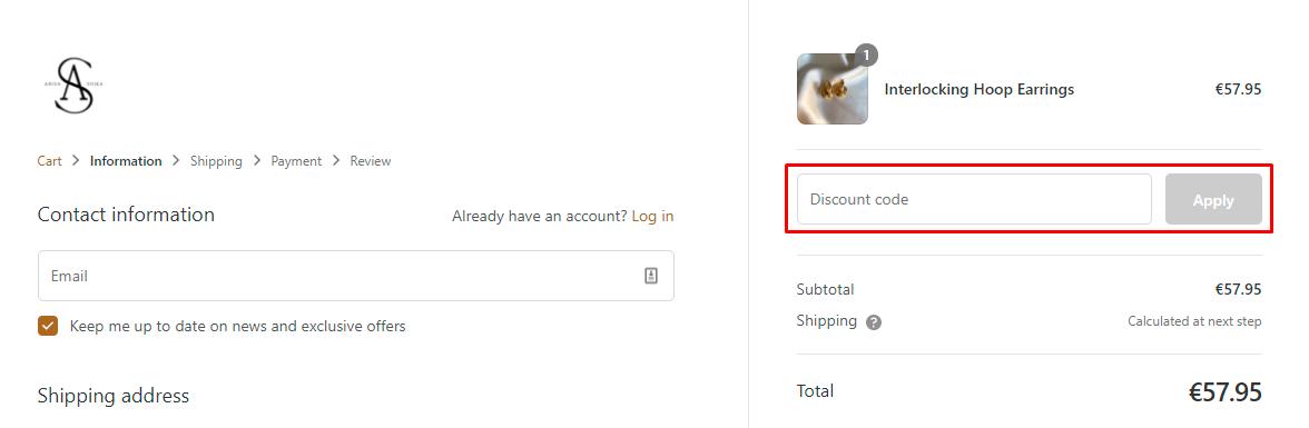 How do I use my Anisa Sojka discount code?
