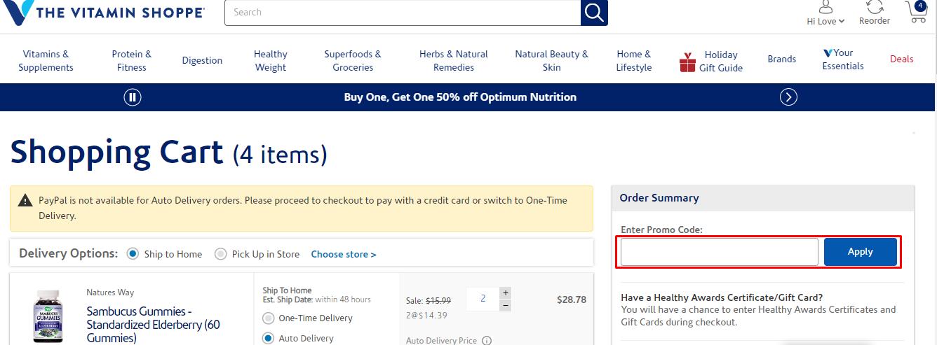 How do I use my Vitamin Shoppe discount code?
