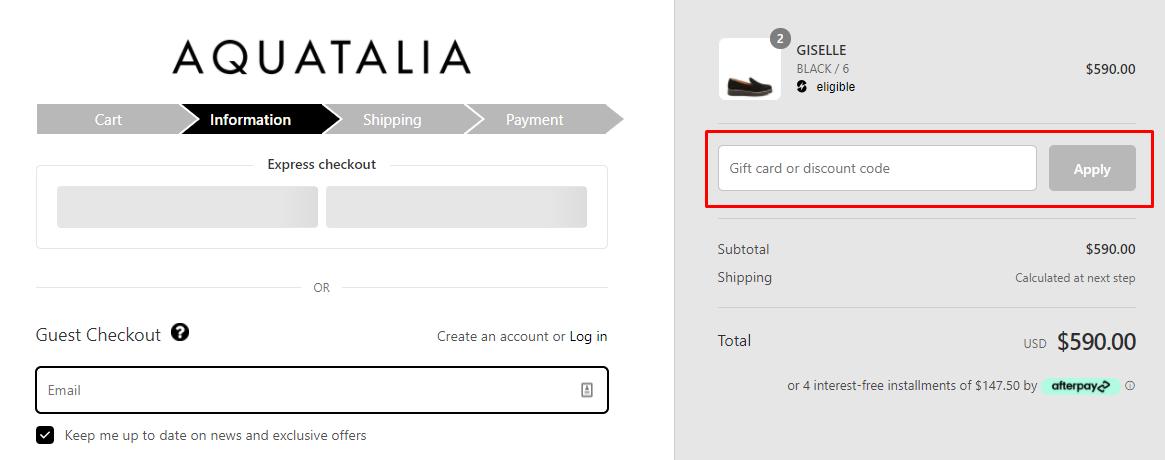 How do I use my Aquatalia discount code?
