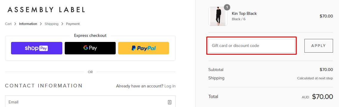 How do I use my Assembly Label coupon code?