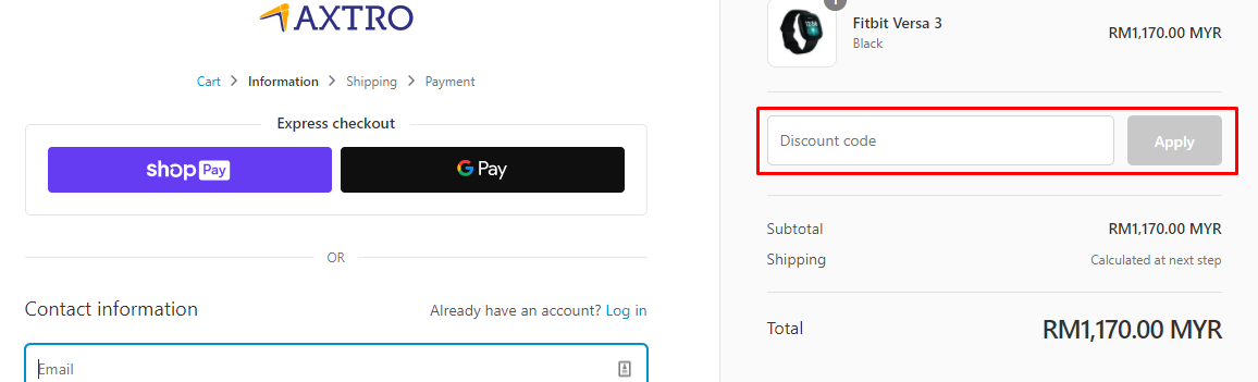 How do I use my Axtro Sports discount code?
