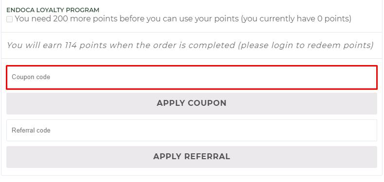 How do I use my Endoca coupon code?