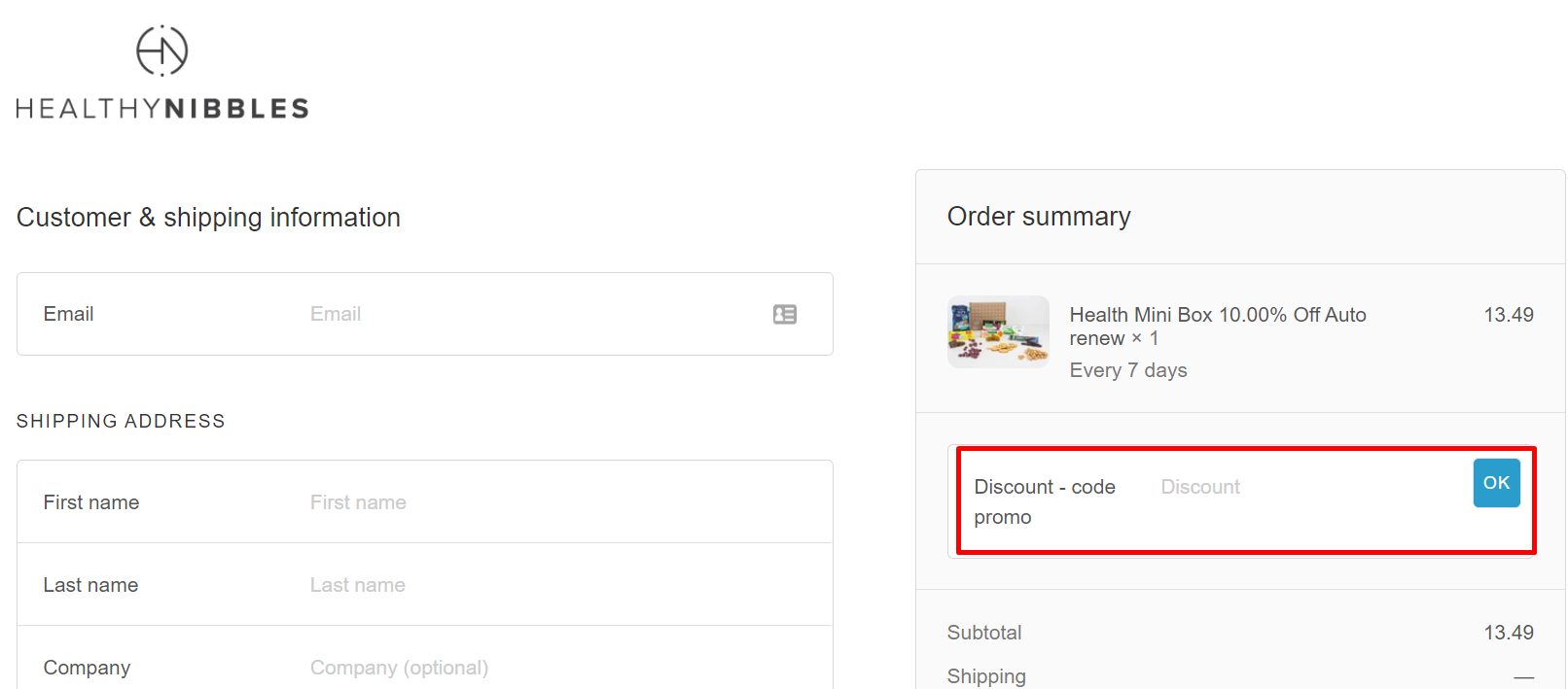 How do I use my Healthy Nibbles discount code?
