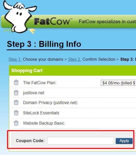 How do I use my FatCow coupon code