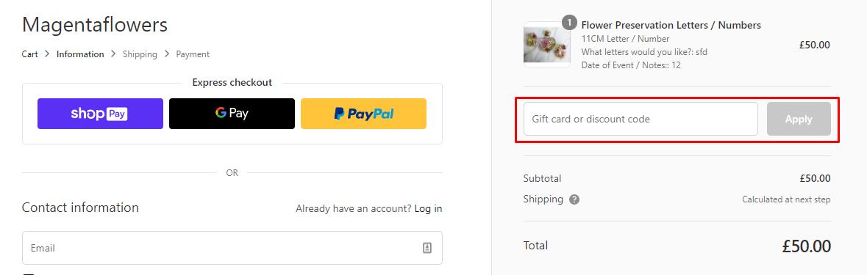 How do I use my Magenta Flowers discount code?