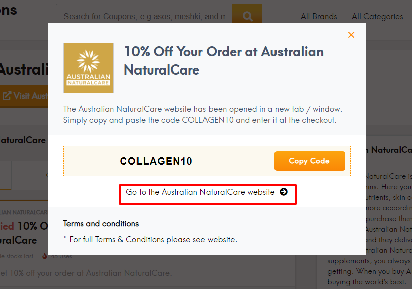 How do I use my Australian NaturalCare discount code?