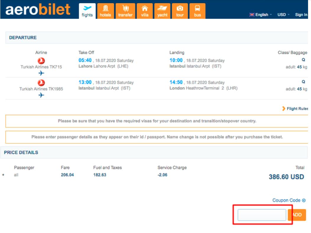 How do I use my Aero Bilet coupon code?