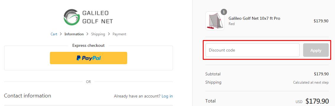 How do I use my Galileo Golf Net discount code?