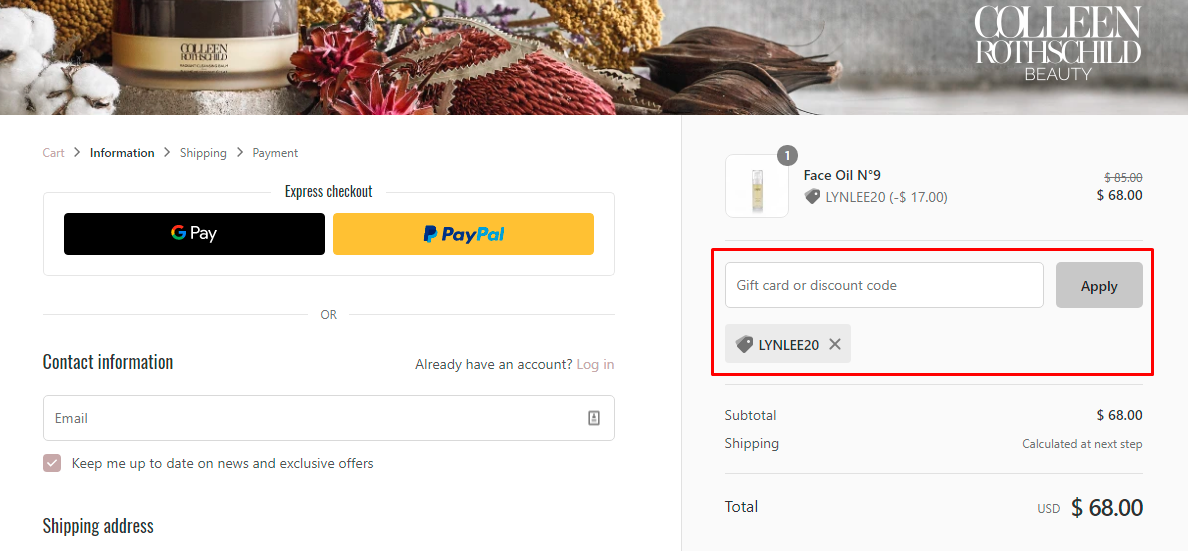 How do I use my Colleen Rothschild Beauty discount code?