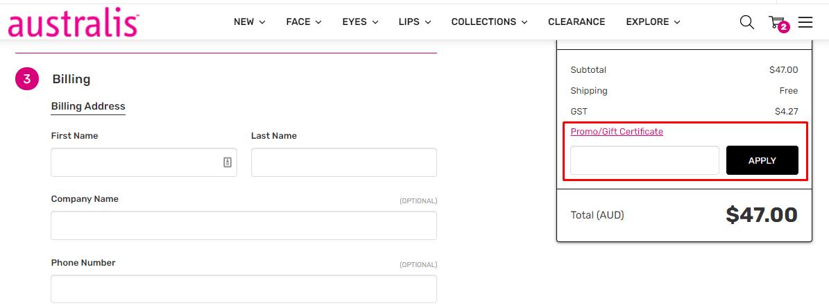 How do I use my Australis Cosmetics promo code?