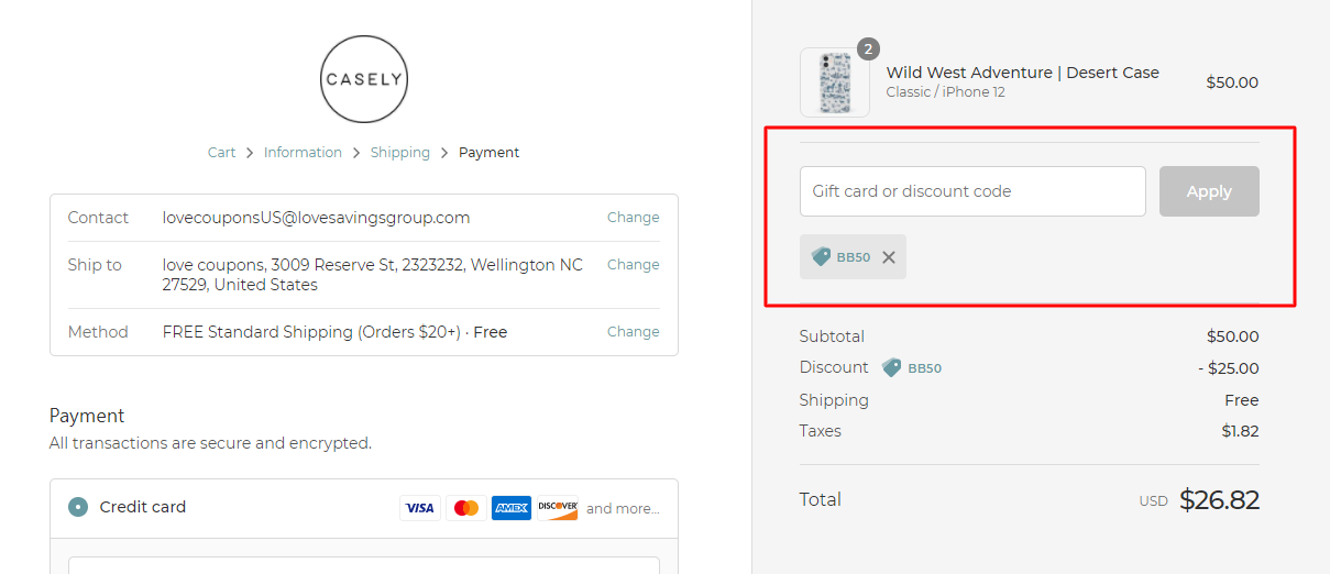 How do I use my Casely discount code?