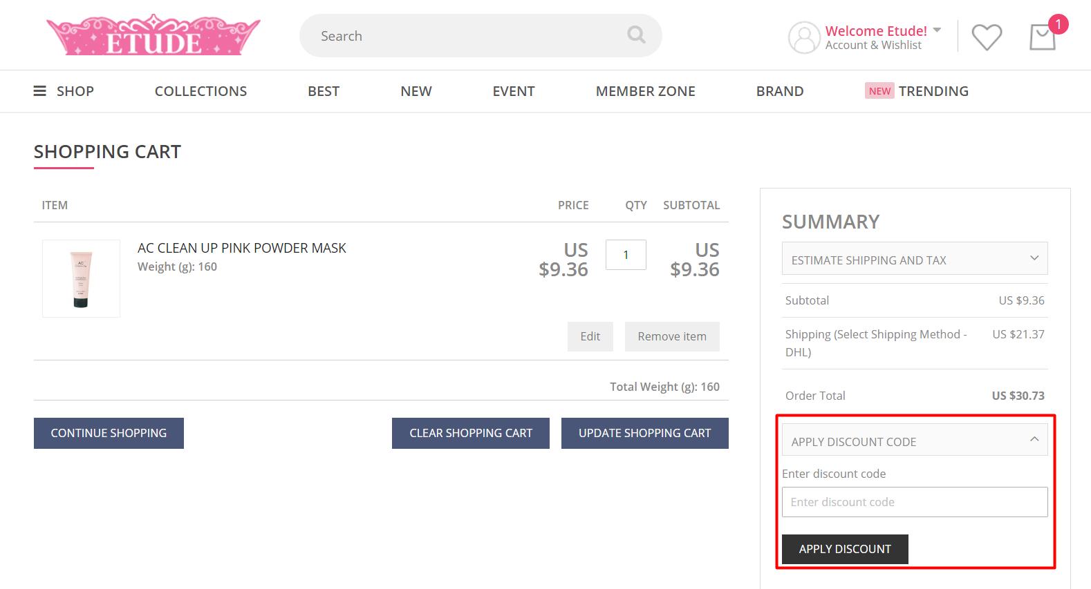 How do I use my ETUDE discount code?