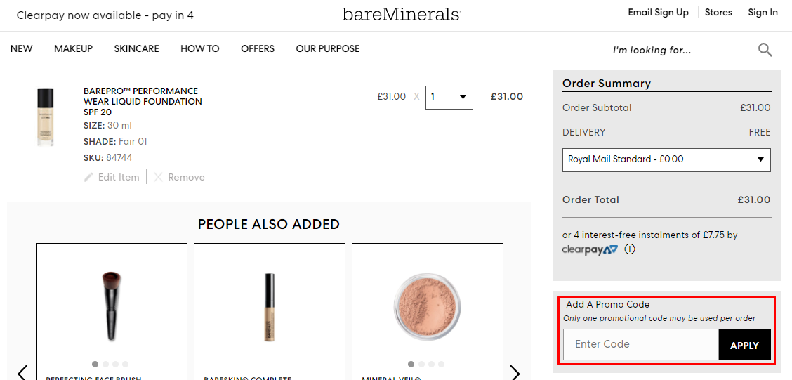 How do I use my bareMinerals discount code?