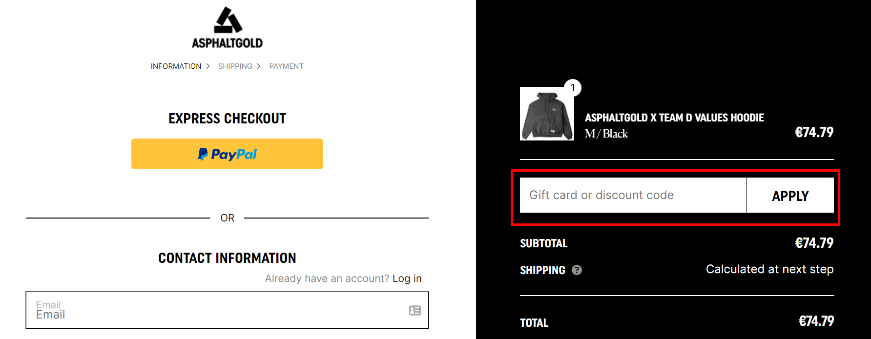 How do I use my asphaltgold discount code?