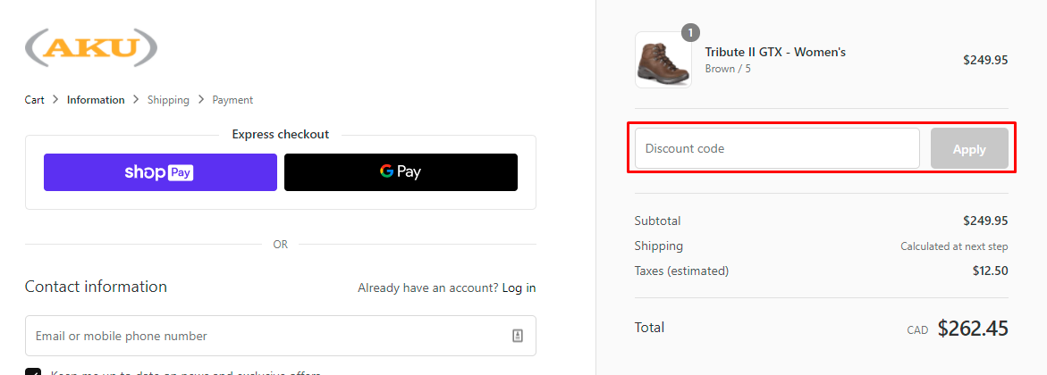 How do I use my AKU discount code?